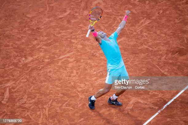 October 09. Rafael Nadal of Spain celebrates his victory against Diego Schwartzman of Argentina in the Semi Finals of the singles competition on...