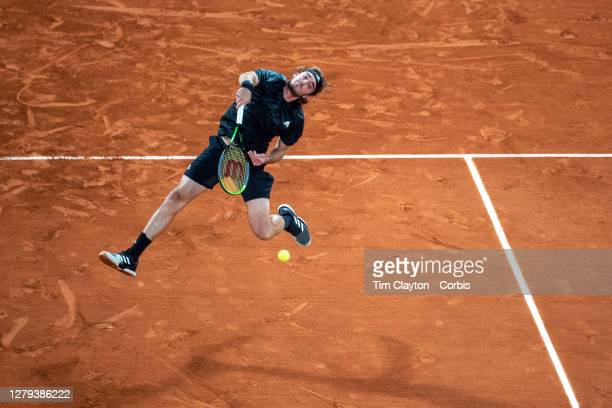 October 09. Stefanos Tsitipas of Greece in action against Novak Djokovic of Serbia in the Semi Finals of the singles competition on Court...