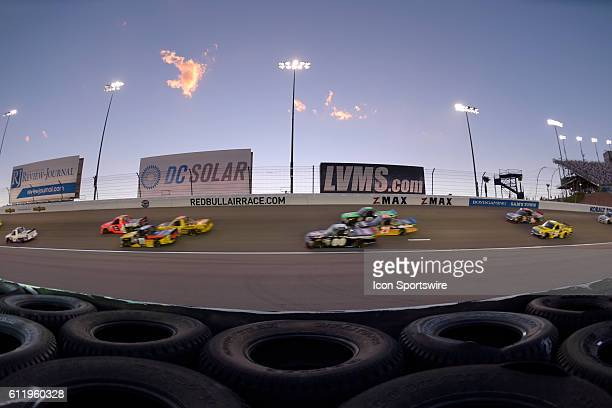 A general view of racing during the NASCAR Camping World Truck Series DC Solar 350 race at the Las Vegas Motor Speedway Saturday Oct 1 in Las Vegas...