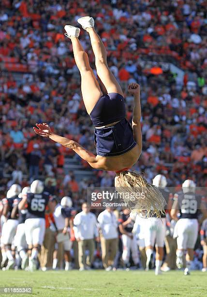 An Auburn Tigers cheerleader turns a flip during an NCAA football game between the Auburn Tigers and the LouisianaMonroe Warhawks at Jordan Hare...