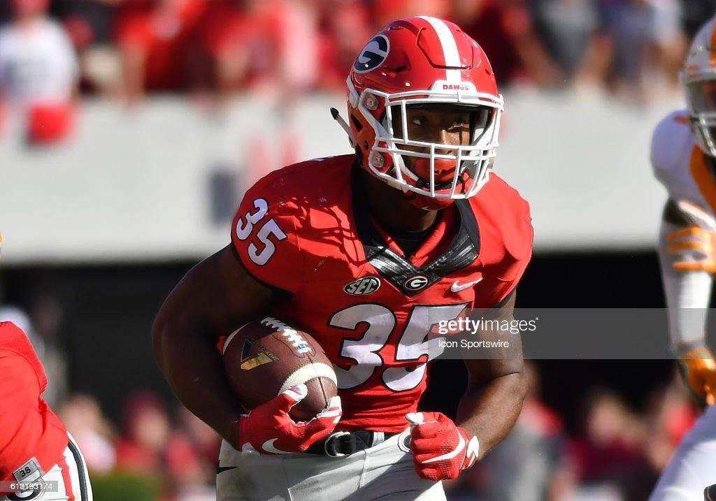 Brian Herrien Georgia Bulldogs running back in game action during ...
