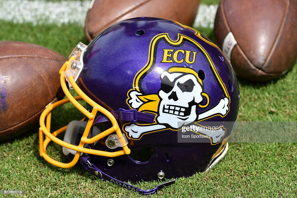 East Carolina helmet in a game between the East Carolina Pirates and the Central Florida Knights at Dowdy-Ficklen Stadium in Greenville, NC. Central Florida defeated East Carolina 47 - 29.