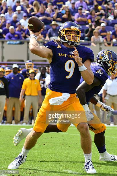 East Carolina Pirates quarterback Philip Nelson throws a pass in a game between the East Carolina Pirates and the Central Florida Knights at...