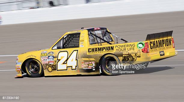 Grant Enfinger Champion Power Equipment Chevrolet GMS Racing heading to garage during the NASCAR Camping World Truck Series DC Solar 350 at Las Vegas...