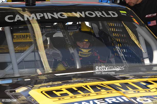 Grant Enfinger Champion Power Equipment Chevrolet GMS Racing heads out to track during the NASCAR Camping World Truck Series DC Solar 350 at Las...