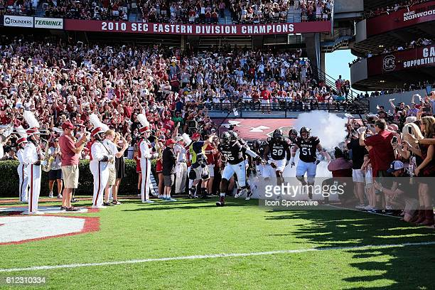 South Carolina Gamecocks take the field to the sound of '2001' during the game between the South Carolina Gamecocks and the Texas AM Aggies at...