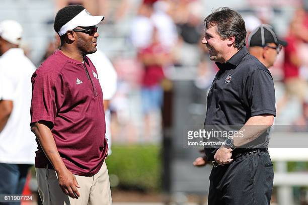 Texas AM Aggies head coach Kevin Sumlin and South Carolina Gamecocks head coach Will Muschamp before the start at WilliamsBrice Stadium in Columbia SC