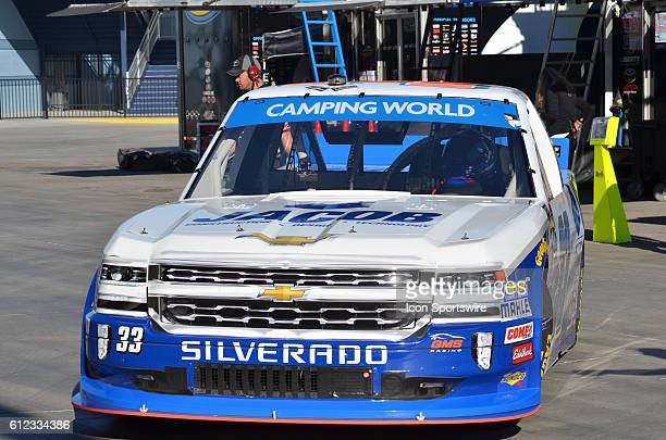Truck Series Chase contender Ben Kennedy Jacob Chevrolet GMS Racing heads out to track during the NASCAR Camping World Truck Series DC Solar 350 at...