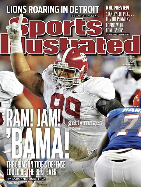 October 10 2011 Sports Illustrated Cover Alabama nose tackle Josh Chapman calling signals to defensive line teammates before snap during game vs...