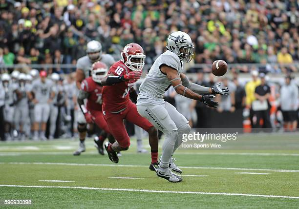 October 10 2015 University of Oregon WR Charles Nelson can't control a pass and the ball falls incomplete during an NCAA Pac12 conference football...