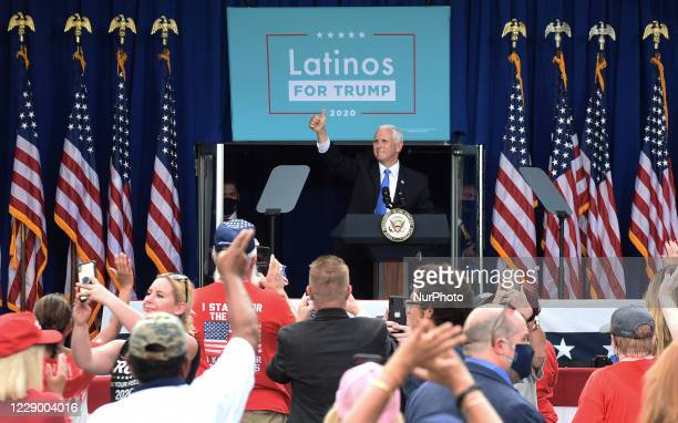 October 10, 2020 - Orlando, Florida, United States - U.S. Vice President Mike Pence give a thumbs up after addressing supporters at a Latinos for...
