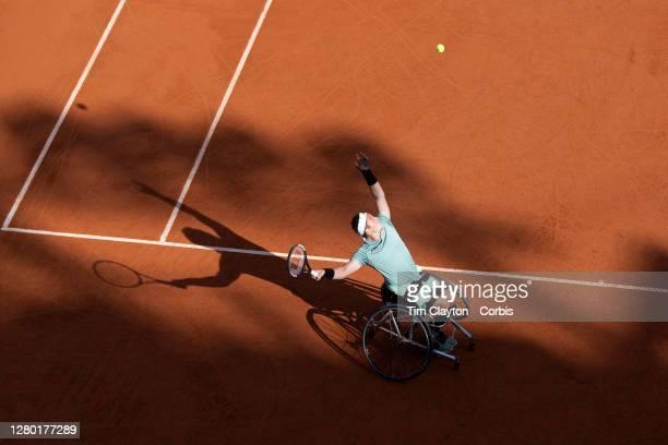 October 10. Alfie Hewett of Great Britain in action against Joachim Gerard of Belgium in the Mens' Wheelchair Singles Final on Court Suzanne Lenglen...