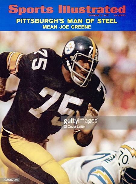 October 11 1971 Sports Illustrated via Getty Images Cover Football Pittsburgh Steelers Joe Greene in action vs San Diego Chargers Russ Washington...