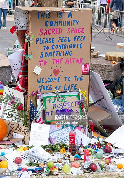 Occupy Wall Street demonstrators stage peaceful protest in New York City's Zuccotti Park at Liberty Street and Broadway across from the World Trade...