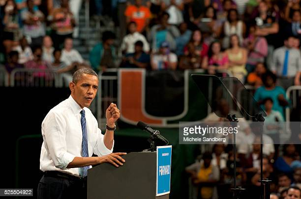 October 11 2012 President Obama Campaigns In South Florida At University Of Miami