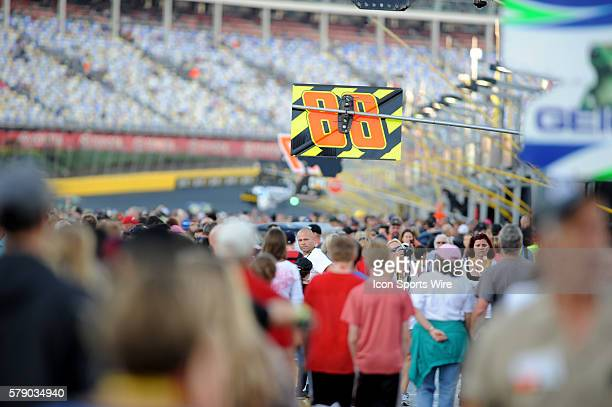 Fans fill pit road hours before the Bank of America 500 at Charlotte Motor Speedway in ConcordNC