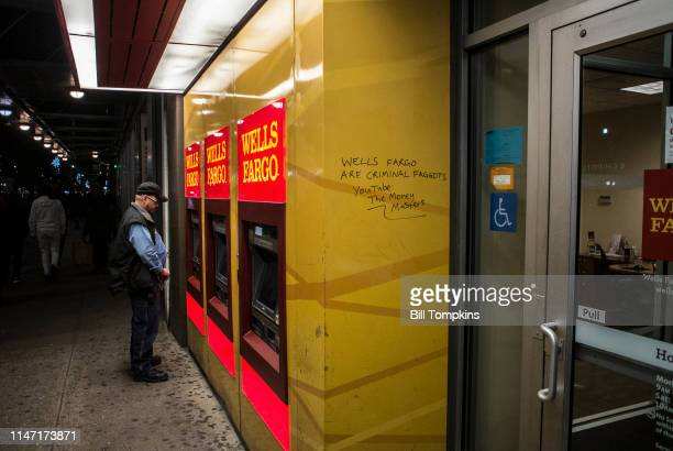 October 11, 2018]: Grafitti about Wells Fargo on a Wells Fargo ATM machine. Photogrpahed on October 11, 2018 in New York City.