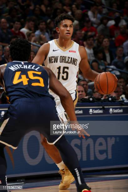 Frank Jackson of the New Orleans Pelicans handles the ball during a preseason game against the Utah Jazz on October 11 2019 at the Smoothie King...