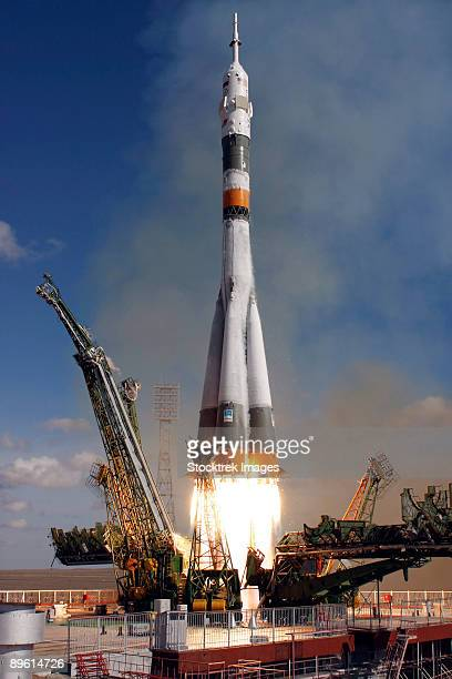 October 12, 2008 - The Soyuz TMA-13 spacecraft launches from the Baikonur Cosmodrome in Kazakhstan.