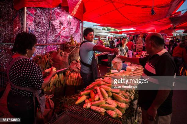 October 12 2015 Andres and Alejandro Montes sell Elotes on the weekly Tiangui in Texcoco Mexico