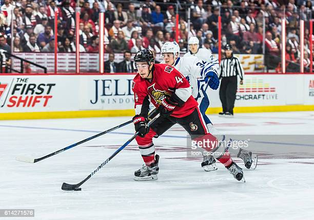 Ottawa Senators Center JeanGabriel Pageau stickhandles the puck during the NHL game between the Ottawa Senators and the Toronto Maple Leafs at...