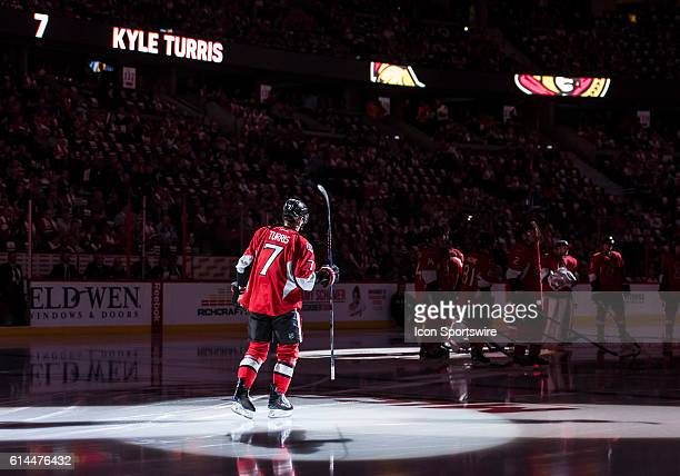 Ottawa Senators Center Kyle Turris is introduced to the crowd before the NHL game between the Ottawa Senators and the Toronto Maple Leafs at Canadian...
