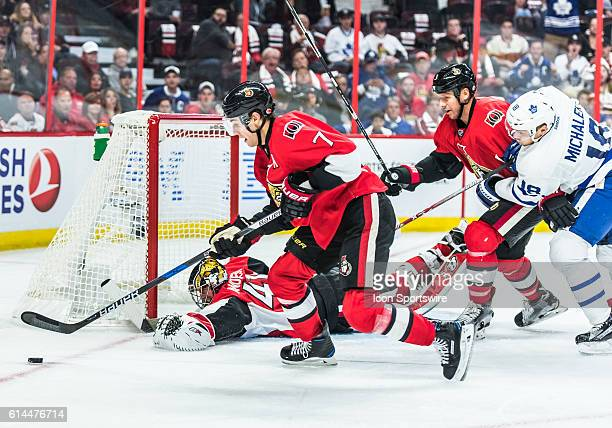Ottawa Senators Center Kyle Turris stickhandles the puck during the NHL game between the Ottawa Senators and the Toronto Maple Leafs at Canadian...