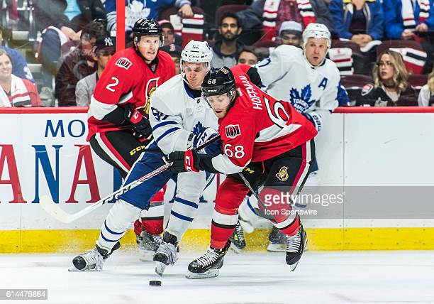Ottawa Senators Left Wing Mike Hoffman stickhandles the puck during the NHL game between the Ottawa Senators and the Toronto Maple Leafs at Canadian...