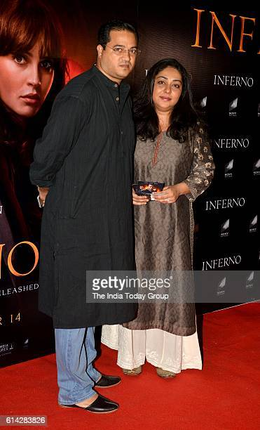 Meghna Gulzar with his husband Govind Sandhu during the screening of film Inferno in Mumbai