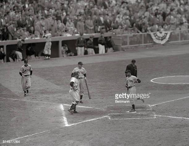 October 121951 New YorkGiants centerfielder Willie Mays tallies in the fifth inning to tie the score at oneall in the sixth World Series game Mays...