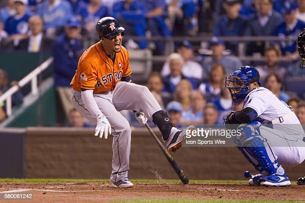 Houston Astros center fielder Carlos Gomez reacts after hitting a foul ball off of his foot during the ALDS series game between the Houston Astros...