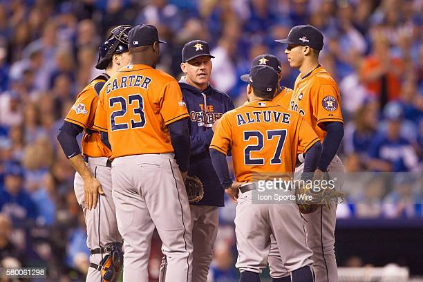 Houston Astros meeting on the mound during the ALDS series game between the Houston Astros and the Kansas City Royals at Kauffman Stadium in Kansas...