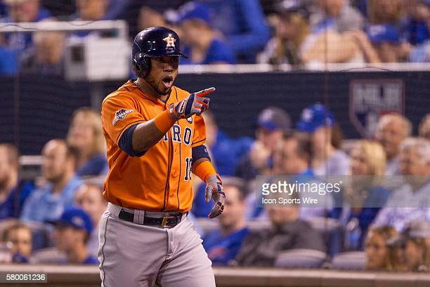 Houston Astros third baseman Luis Valbuena points to the dugout after hitting a home run during the ALDS series game between the Houston Astros and...