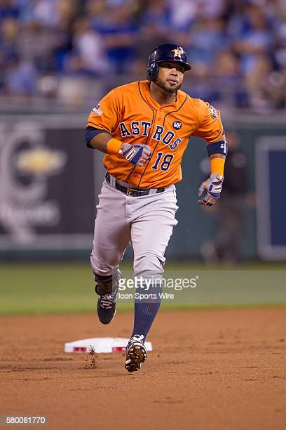 Houston Astros third baseman Luis Valbuena rounds the bases after hitting a home run during the ALDS series game between the Houston Astros and the...