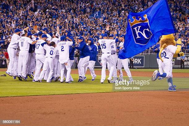 Kansas City Royals celebrate after winning the ALDS series game between the Houston Astros and the Kansas City Royals at Kauffman Stadium in Kansas...