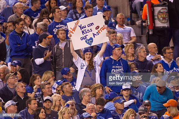 Kansas City Royals fans during the ALDS series game between the Houston Astros and the Kansas City Royals at Kauffman Stadium in Kansas City Missouri