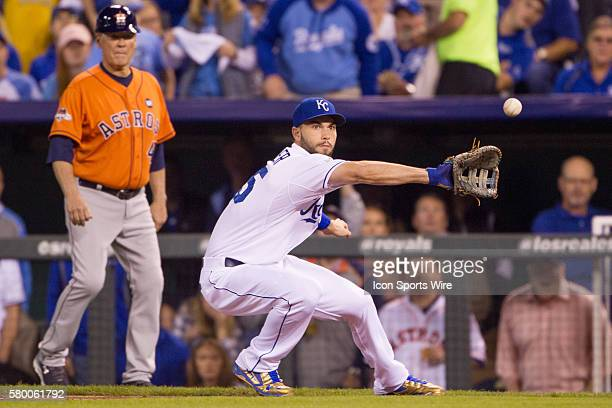 Kansas City Royals first baseman Eric Hosmer during the ALDS series game between the Houston Astros and the Kansas City Royals at Kauffman Stadium in...