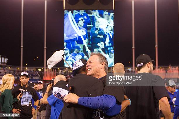 Kansas City Royals manager Ned Yost embraces a player after winning the ALDS series game between the Houston Astros and the Kansas City Royals at...