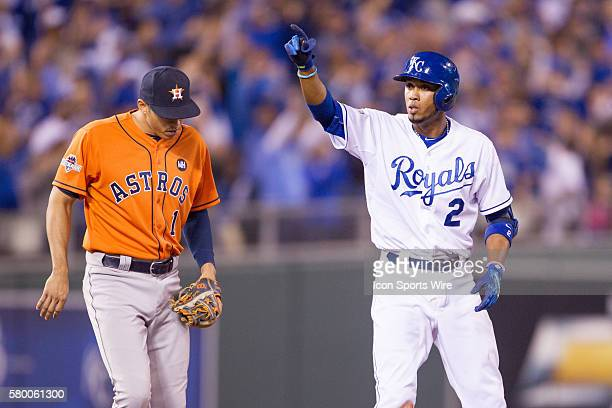 Kansas City Royals shortstop Alcides Escobar points to the dugout after getting on base during the ALDS series game between the Houston Astros and...