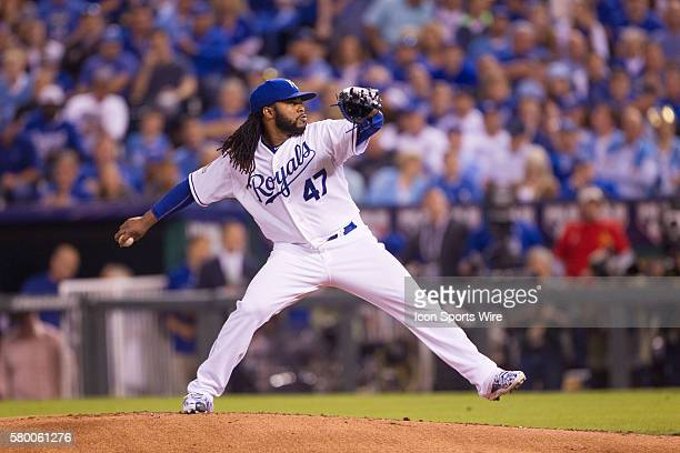 Kansas City Royals starting pitcher Johnny Cueto during the ALDS series game between the Houston Astros and the Kansas City Royals at Kauffman...