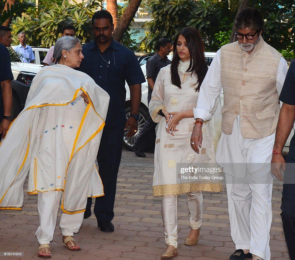 Aishwarya Rai Bachchan Jaya Bachchan and Amitabh Bachchan during the prayer meeting for Shilpa Shetty`s father Surendra Shetty in Mumbai
