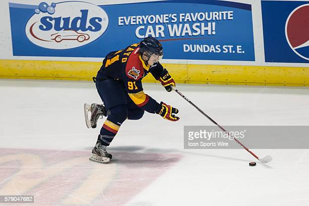 October 15, 2014. Cole Mayo of the Erie Otters carries the puck during a game between the London Knights and the Erie Otters played at Budweiser...