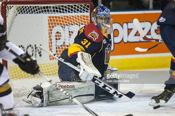 October 15, 2014. Erie Otters goalie Devin Williams follows the play during a game between the London Knights and the Erie Otters played at Budweiser...