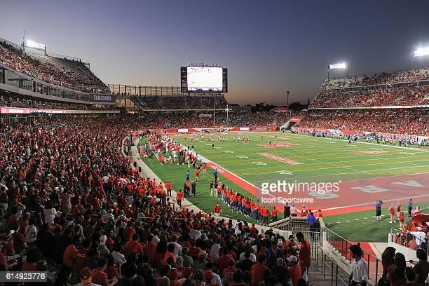 Wide view of TDECU stadium during the Tulsa Golden Hurricanes at Houston Cougars game at TDECU Stadium, Houston, Texas.