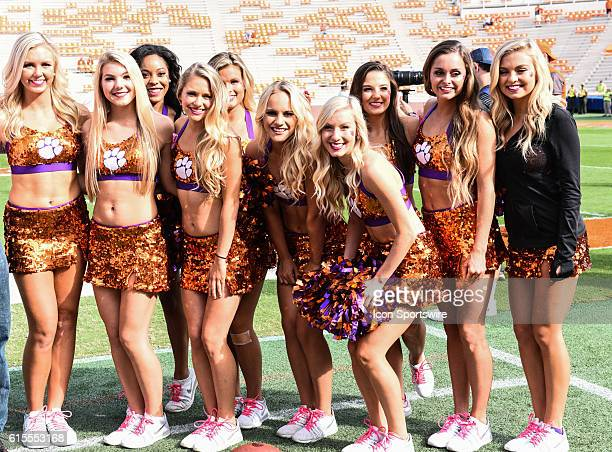 Clemson cheerleaders during pregame between the Clemson Tigers and the NC State Wolfpack at Memorial Stadium in Clemson SC