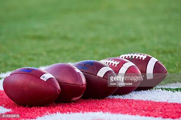 Footballs ready to go before the Tulsa Golden Hurricanes at Houston Cougars game at TDECU Stadium, Houston, Texas.