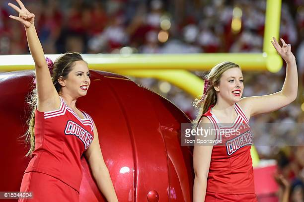 Houston Cougar cheerleaders during the Tulsa Golden Hurricanes at Houston Cougars game at TDECU Stadium, Houston, Texas.