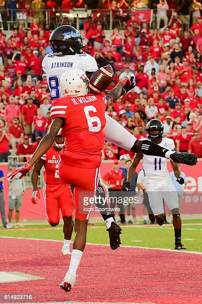 Houston Cougars cornerback Howard Wilson breaks up a touchdown pass to Tulsa Golden Hurricane wide receiver Josh Atkinson during the Tulsa Golden...