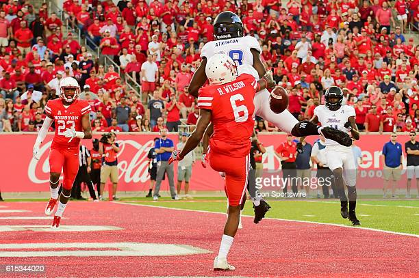 Houston Cougars cornerback Howard Wilson breaks up a touchdown pass intended for Tulsa Golden Hurricane wide receiver Josh Atkinson during the Tulsa...