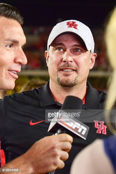 Houston Cougars head coach Tom Herman after the Tulsa Golden Hurricanes at Houston Cougars game at TDECU Stadium Houston Texas